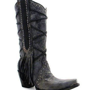 LMFYW3 Corral Black-Grey Braiding & Fringe Boots