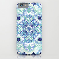 Navy Blue, Green & Cream Detailed Lace Doodle Pattern iPhone & iPod Case by Micklyn
