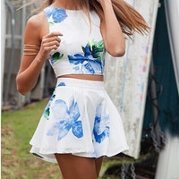 Feelingirl New Arrival 2015 Women Summer Fashion Dress Sexy O-Neck And Flower Print Design Short Dress Two Pieces Sleeveless Hot Sell = 1696905284