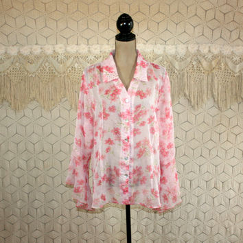 Plus Size 2X Pink Floral Blouse Chiffon Sheer Top Bell Sleeve Dressy Button Up Shirt Dressbarn Size 18/20 Plus Size Clothing Womens Clothing