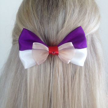 Aladdin Purple, Cream and Red Street Rat Bow, A Whole New World by Design Bowtique