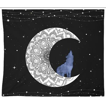 White Moon Wolf Tapestry Blue Distressed Tapestry Wall Hanging Meditation Yoga Grunge Hippie