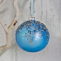 Silver-Embellished Blue Opalescet Ball Christmas Ornament