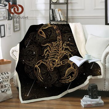 BeddingOutlet Golden Scorpion Blanket Boho Meteor Scorpio Bedding Vintage Sofa Plaid Velvet Plush Blanket Constellation manta