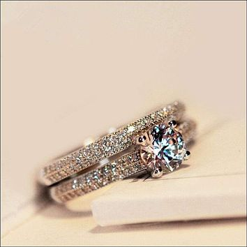 1ct Topaz Women's Engagement Unique AAA 925 Silver Band Wedding Ring Sets Sz 4-9
