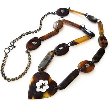 Tortoise Shell, Vintage Necklace, Silver Inlay, Suma Fiji, South Pacific, Tourist Souvenir, Sweetheart Jewelry