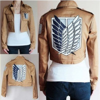 Attack on Titan Jacket Shingeki no Kyojin Legion Coat Cosplay Eren Levi Jacket Plus Size  Halloween Costume