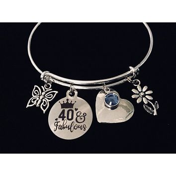Personalized Forty and Fabulous 40th Birthday Jewelry Adjustable Charm Bracelet Silver Expandable Bangle One Size Fits All Gift 40 Birthday Gift Butterfly Daisy Birthstone