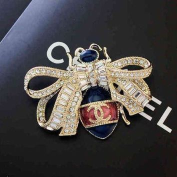 LMFONAY Chanel Women Fashion Bee Diamonds Crystal Brooch