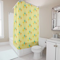 Nifty fifties - triple star burst shower curtain