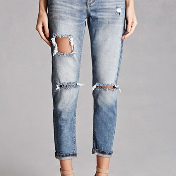 Distressed Short Low-Rise Jeans