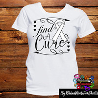 White Ribbon Find A Cure Shirts (Lung Cancer, Mesothelioma, Retinoblastoma, SCID (Severe combined immunodeficiency) and Scoliosis