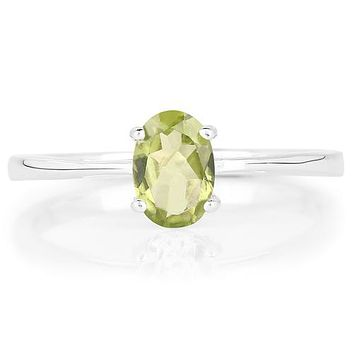 Natural .83CT Oval Cut Green Peridot Engagement Ring