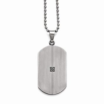 Stainless Steel Matte/antiqued 0.04ct.tw Diamond Dog Tag Necklace