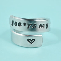 you're my person - Hand Stamped Spiral Ring, Grey's Anatomy Inspired, Love And Friendship Ring,  Best Friends Gift