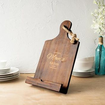 Personalized Mother's Day Brown Wooden iPad & Recipe Stand