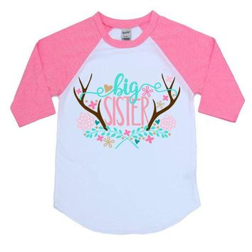 Big Sister Antler Kids Raglan Shirt