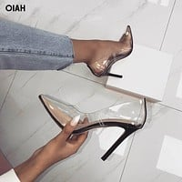 Hot Summer Shoes Clear PVC Sandals Perspex Heel Stilettos High Heels Point Toes Womens Party Shoes Nightclub Pumps 36-41