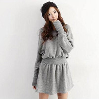 Light grey dress with bat sleeves