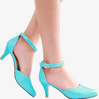 Elegant Blue Mid Heel Shoes