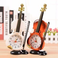Violin Table Clock Quartz Alarm Clock Desk