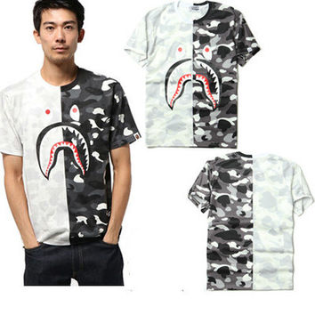 The new spring and summer high street sharks camouflage T-shirt