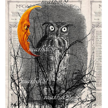 Printable Owl digital download 300 dpi commercial use jpeg moon home decor art journal supply craft supply instant download wall art