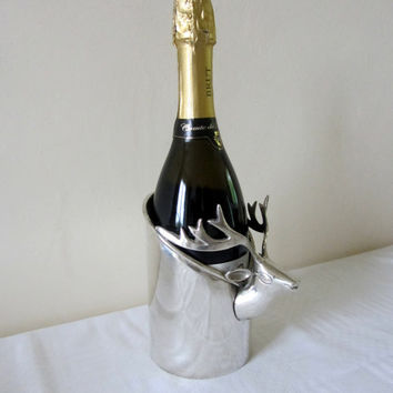 Vintage French Silver Plated Champagne or Wine Bottle Holder