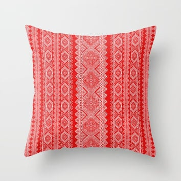 Ukrainian embroidery red and white Throw Pillow by exobiology