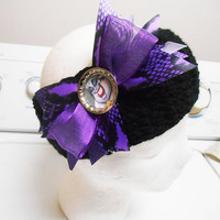 Crochet Black Little Mermaid Ursula boutique stacked hairbow headband fits adults and kids