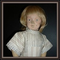 Schoenhut Doll- 16/301 Character - With Old Wig -Handmade Dress (item #1293101)