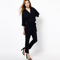 Chiffon Stylish Three-quarter Sleeve V-neck Jumpsuit for Fall and Winter [9022452740]
