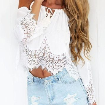 CREYO2N Summer Chiffon Shirt Women Off Shoulder Blouse Casual Crop Tank Tops Cover Up Boho White Lace Blouse Femme Blusas