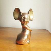Vintage Brass Mouse Figurine, Mouse Statue, Brass Animal Collectible, Mouse Paperweight, Mouse Figure, Gold Mouse