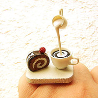 Kawaii Coffee Ring Chocolate Cake by SouZouCreations on Etsy