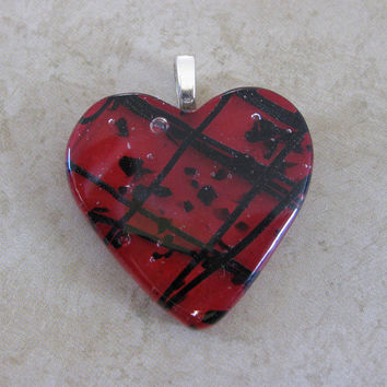 Red Heart Pendant, Necklace Slide, Handmade Fused Glass Heart Jewelry - Be Mine - 3957 -3
