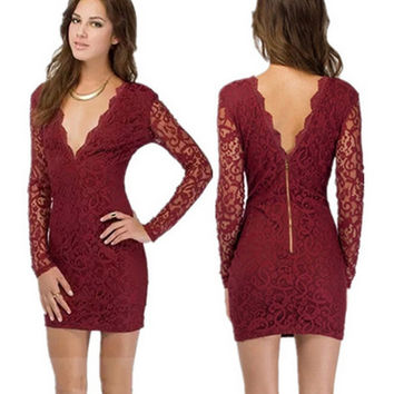 V-Neck Lace Bodycon Dress in Burgundy