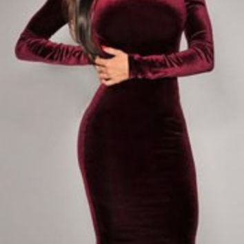 Claret Color Long Sleeve Backless Bodycon Dress