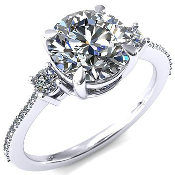 Bonnie Round Moissanite 4 Claw Prong 2 Rail Basket Round Sidestones Inverted Cathedral Diamond Accent Engagement Ring