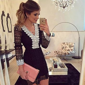 Spring and Summer Fashion Women A-line Dress Sexy Black Hollow Out Lace Dresses Casual Long Sleeve Mini Dress