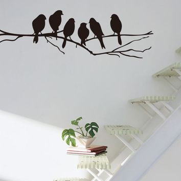 wall stickers modern home decor 6 birds on branch vinyl living room kids baby nursery bedroom decor 8216. decoration art decal