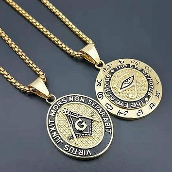 Eye of Horus Square Compass Masonic Pendant Necklace