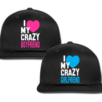 i heart my crazy gf bf couple matching snapback cap