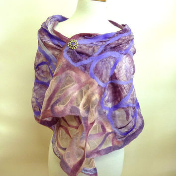 Purple Silk and Wool WrapSpring Fashion Scarf by sesenarts on Etsy