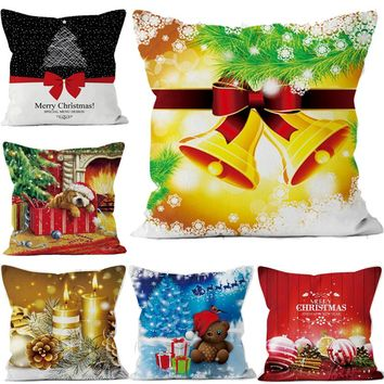 Christmas Decorative for Home Short Plush Santa Claus Pillows Cover Set Xmas Style Soft Cushion Cover Pillowcase 45*45cm