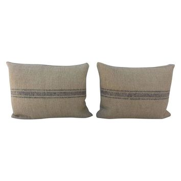 Pre-owned French Grain Sack Pillows - A Pair