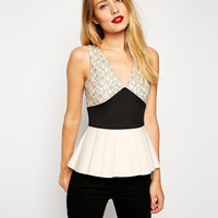 ASOS Peplum Top In Colour Block And Lace
