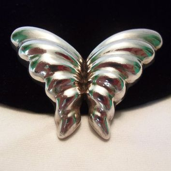Modernist Taxco Mexico Sterling Silver 925 Puffy Butterfly Insect Vintage Brooch Pin