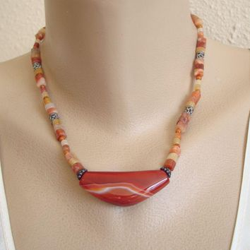 Banded Carnelian Agate Necklace Striking Gemstone Jewelry