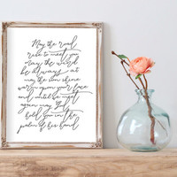 "Quote Print Irish Blessing Printable wall art decor poster ""may the road"" typography print calligraphy wedding print INSTANT DOWNLOAD PRINT"